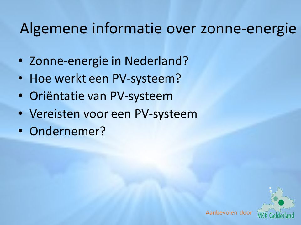 Algemene informatie over zonne-energie