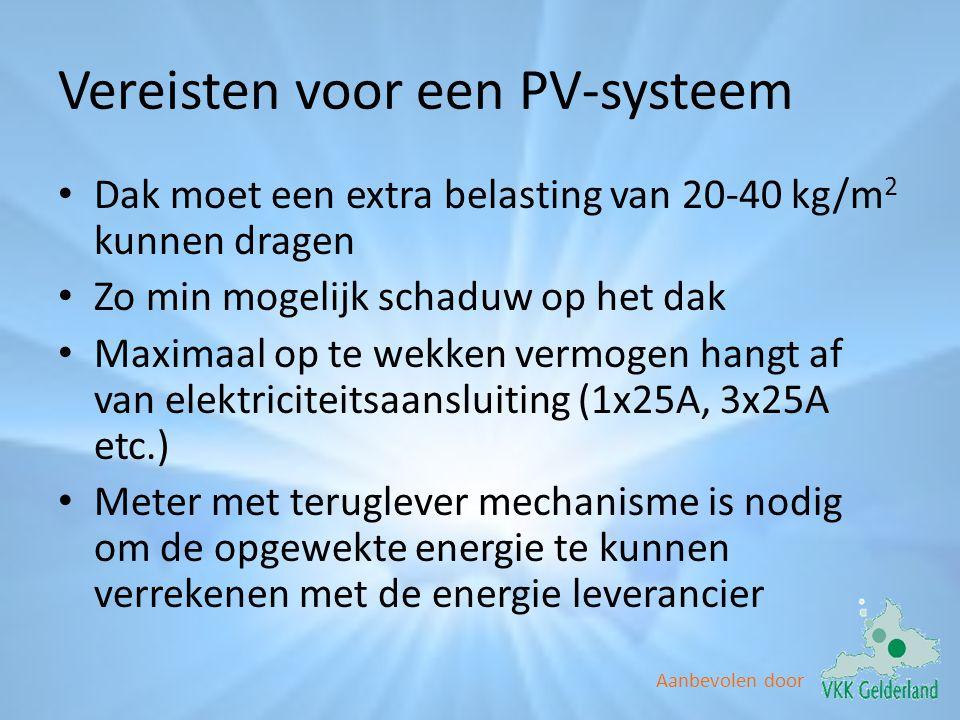 Vereisten voor een PV-systeem