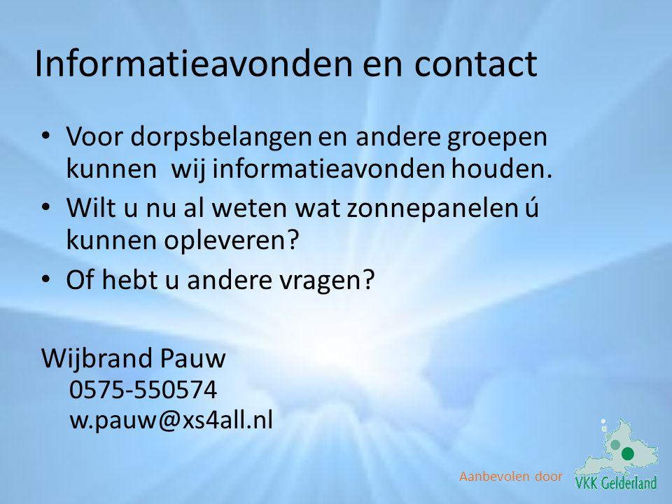 Informatieavonden en contact
