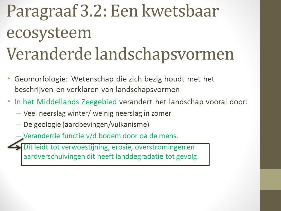Paragraaf 3.2: Een kwetsbaar ecosysteem Veranderde landschapsvormen