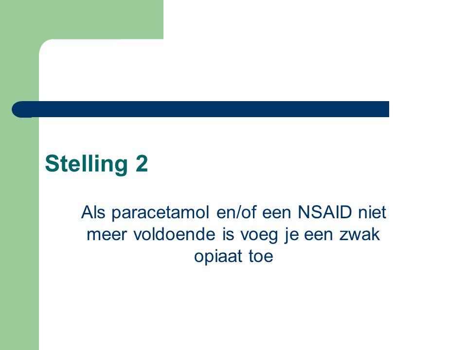 Stelling 2 Als paracetamol en/of een NSAID niet meer voldoende is voeg je een zwak opiaat toe