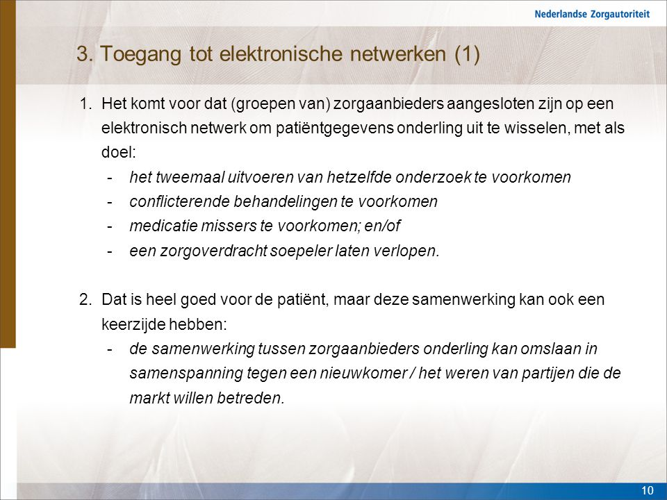 3. Toegang tot elektronische netwerken (1)