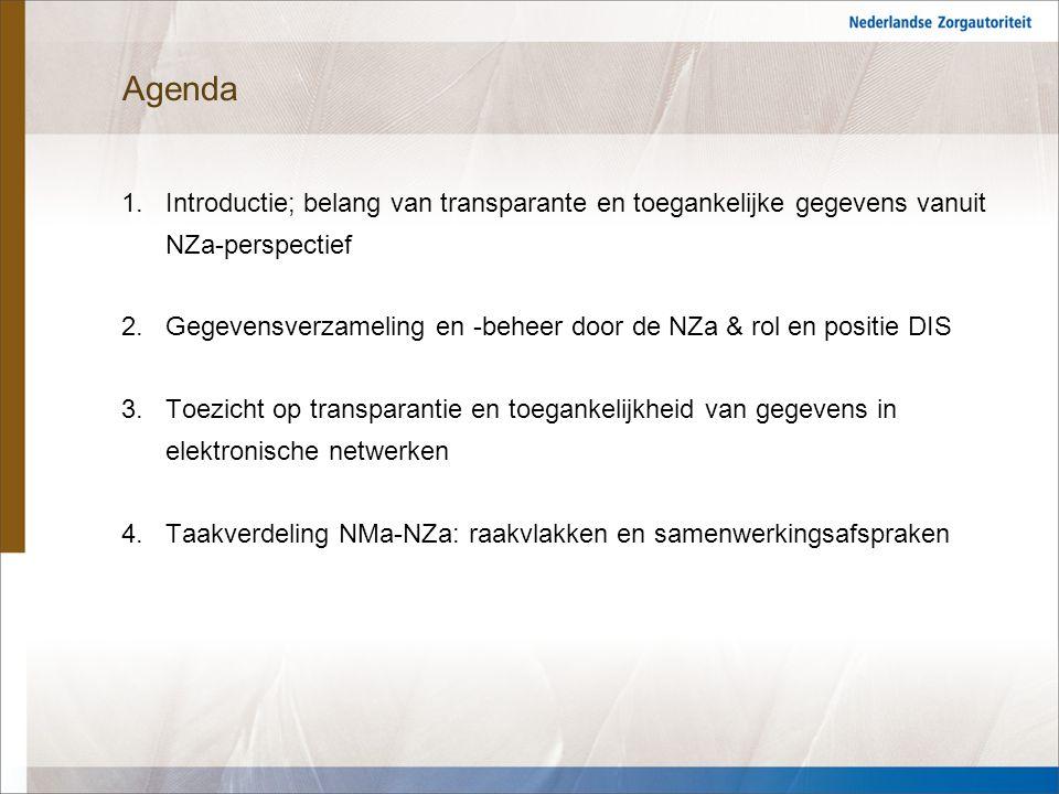 Agenda Introductie; belang van transparante en toegankelijke gegevens vanuit NZa-perspectief.