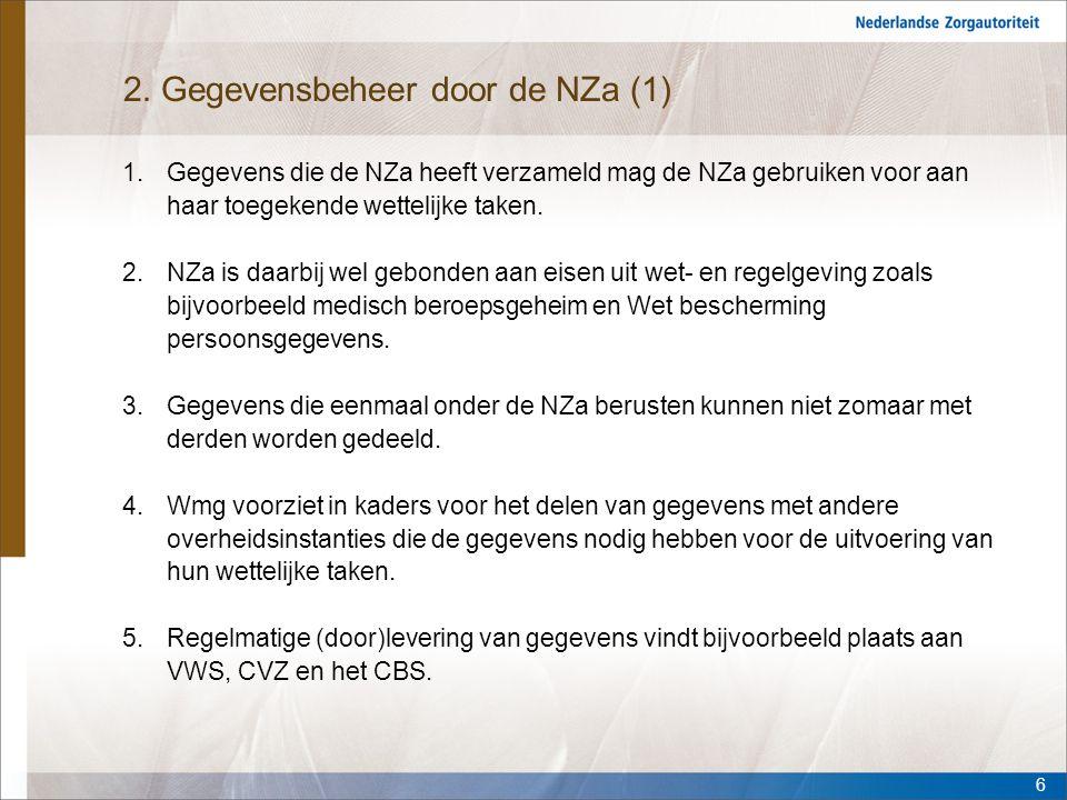 2. Gegevensbeheer door de NZa (1)