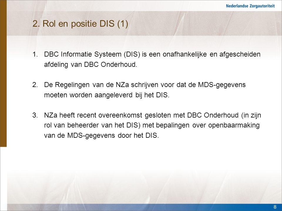 2. Rol en positie DIS (1) DBC Informatie Systeem (DIS) is een onafhankelijke en afgescheiden afdeling van DBC Onderhoud.