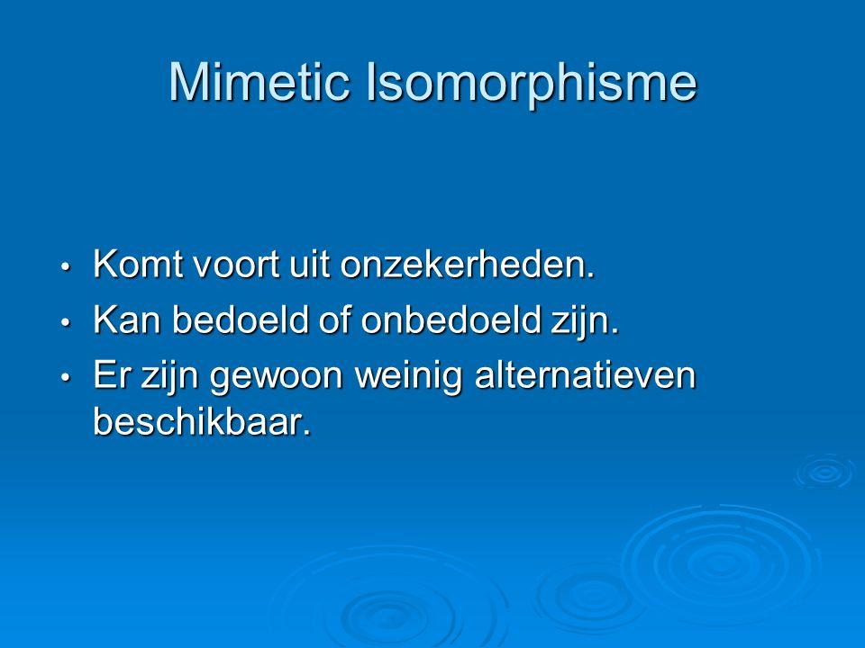 Mimetic Isomorphisme Komt voort uit onzekerheden.