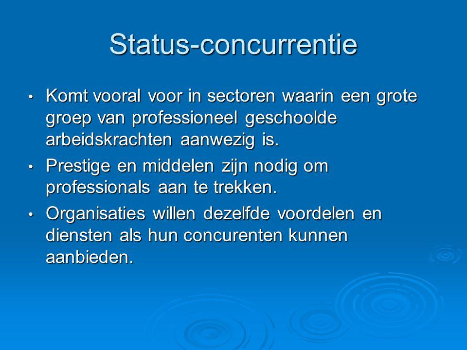 Status-concurrentie Komt vooral voor in sectoren waarin een grote groep van professioneel geschoolde arbeidskrachten aanwezig is.