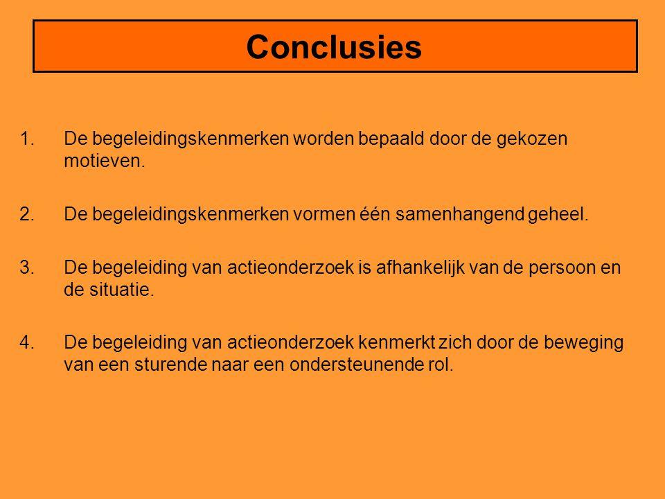 Conclusies De begeleidingskenmerken worden bepaald door de gekozen motieven. De begeleidingskenmerken vormen één samenhangend geheel.