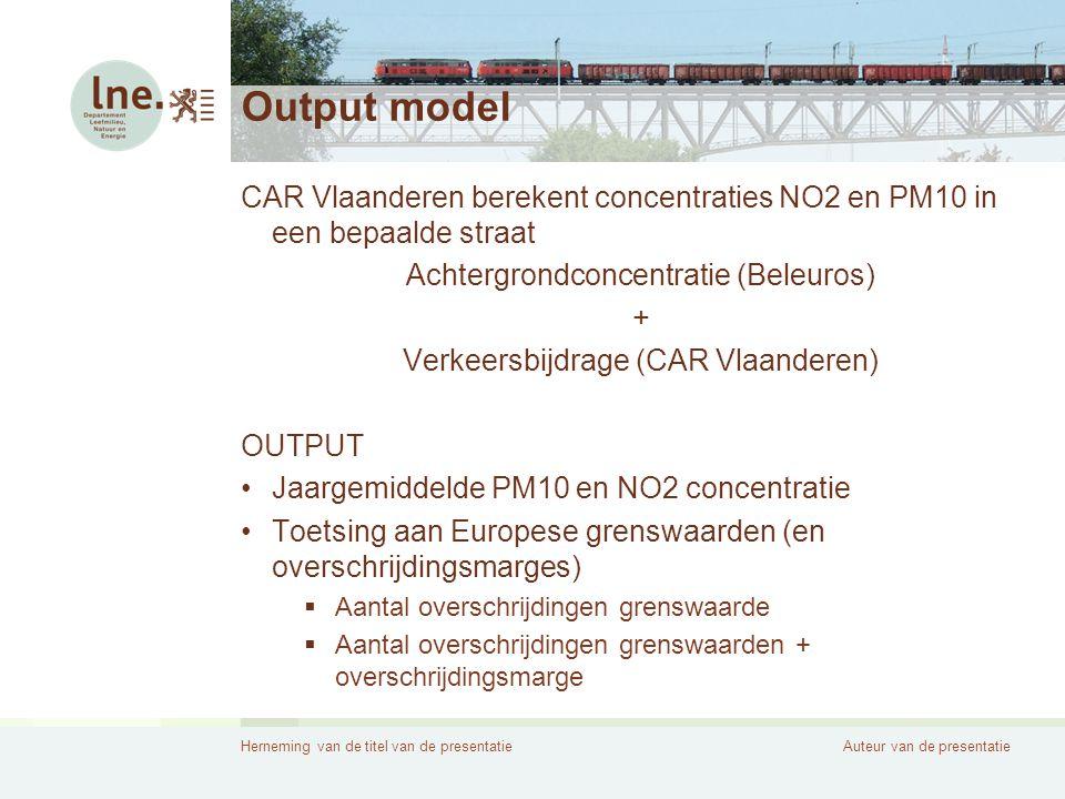 Output model CAR Vlaanderen berekent concentraties NO2 en PM10 in een bepaalde straat. Achtergrondconcentratie (Beleuros)