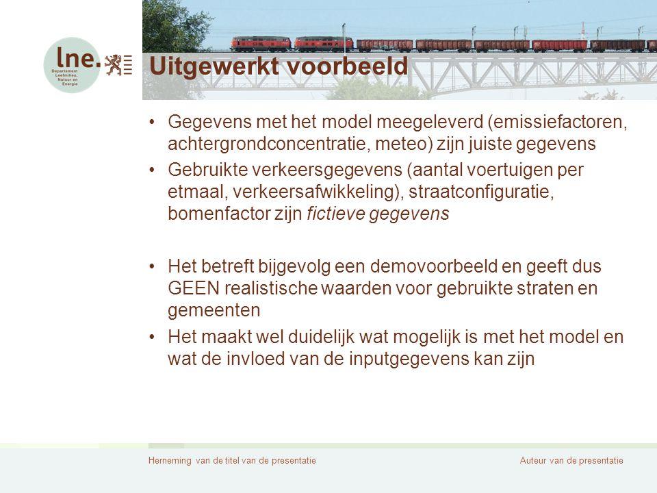 Uitgewerkt voorbeeld Gegevens met het model meegeleverd (emissiefactoren, achtergrondconcentratie, meteo) zijn juiste gegevens.