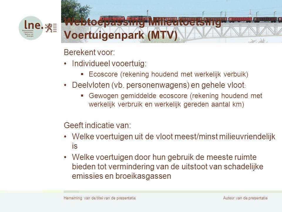 Webtoepassing Milieutoetsing Voertuigenpark (MTV)