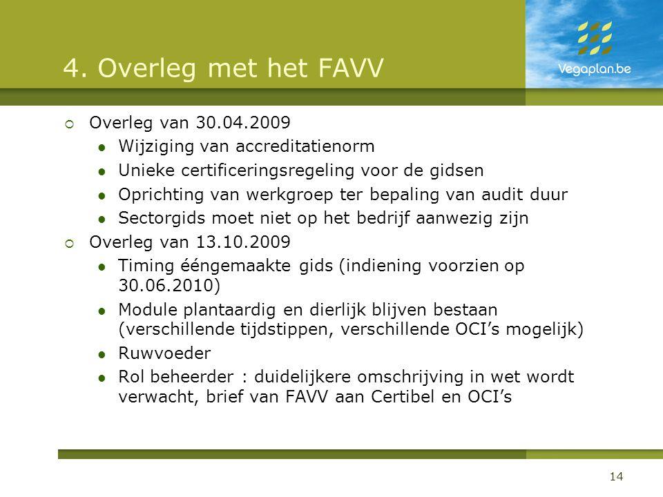 4. Overleg met het FAVV Overleg van 30.04.2009