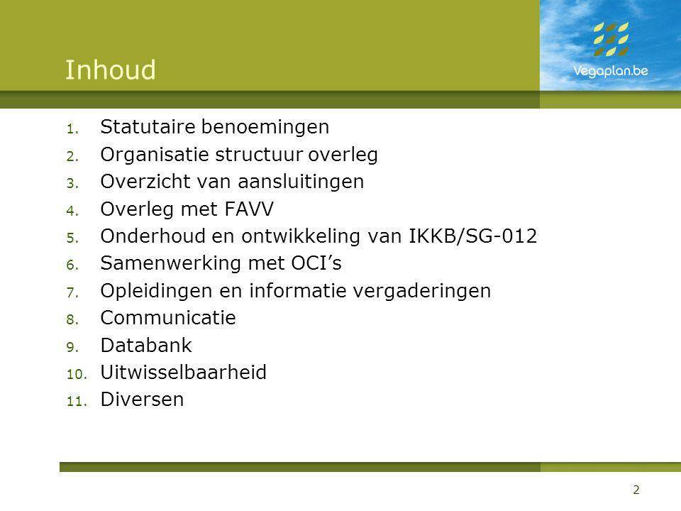 Inhoud Statutaire benoemingen Organisatie structuur overleg