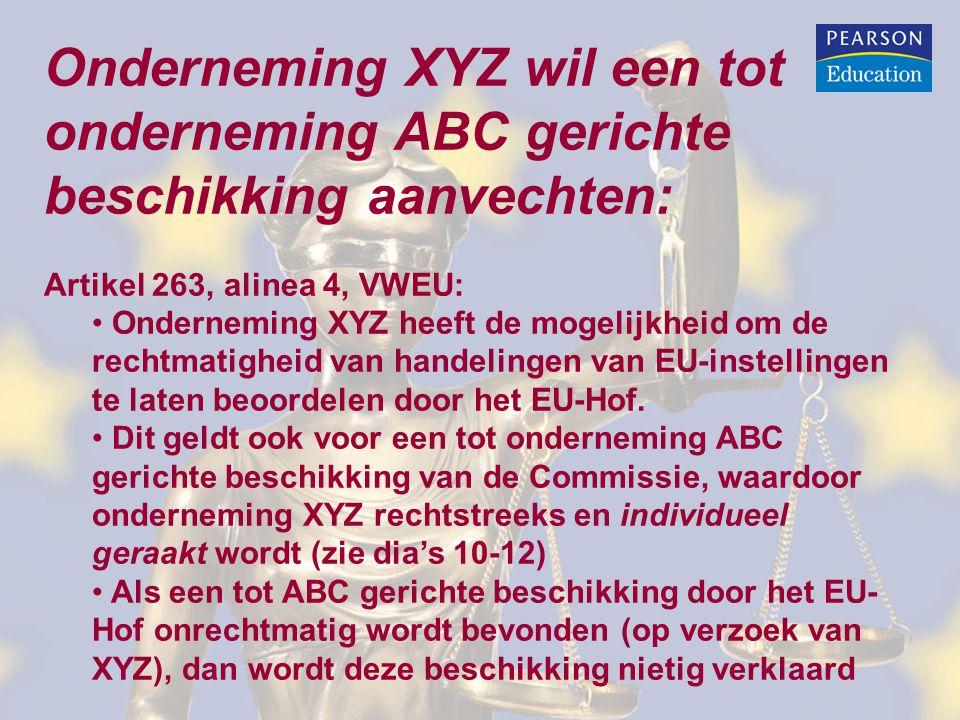 Onderneming XYZ wil een tot onderneming ABC gerichte beschikking aanvechten: