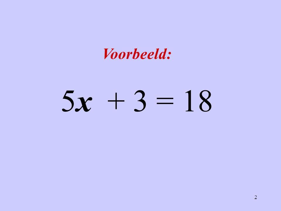 Voorbeeld: 5x + 3 = 18