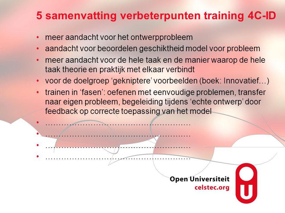 5 samenvatting verbeterpunten training 4C-ID
