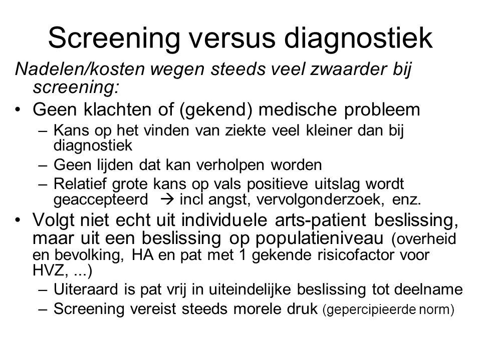 Screening versus diagnostiek