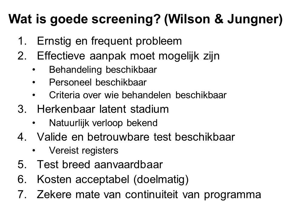Wat is goede screening (Wilson & Jungner)