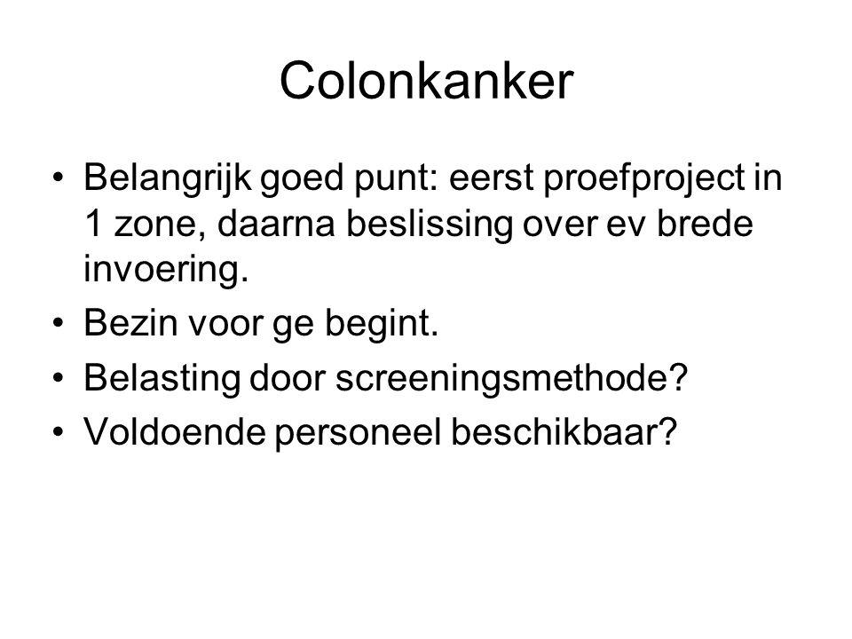 Colonkanker Belangrijk goed punt: eerst proefproject in 1 zone, daarna beslissing over ev brede invoering.