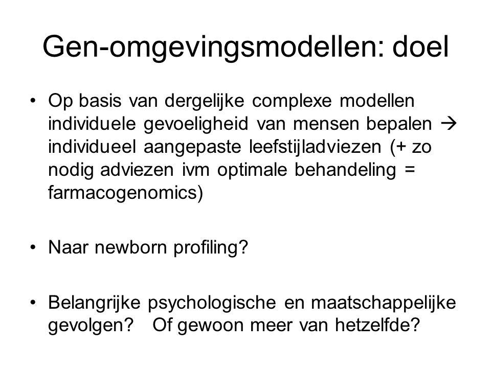 Gen-omgevingsmodellen: doel