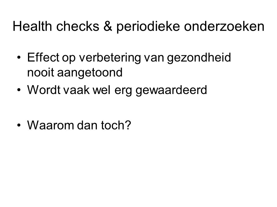 Health checks & periodieke onderzoeken