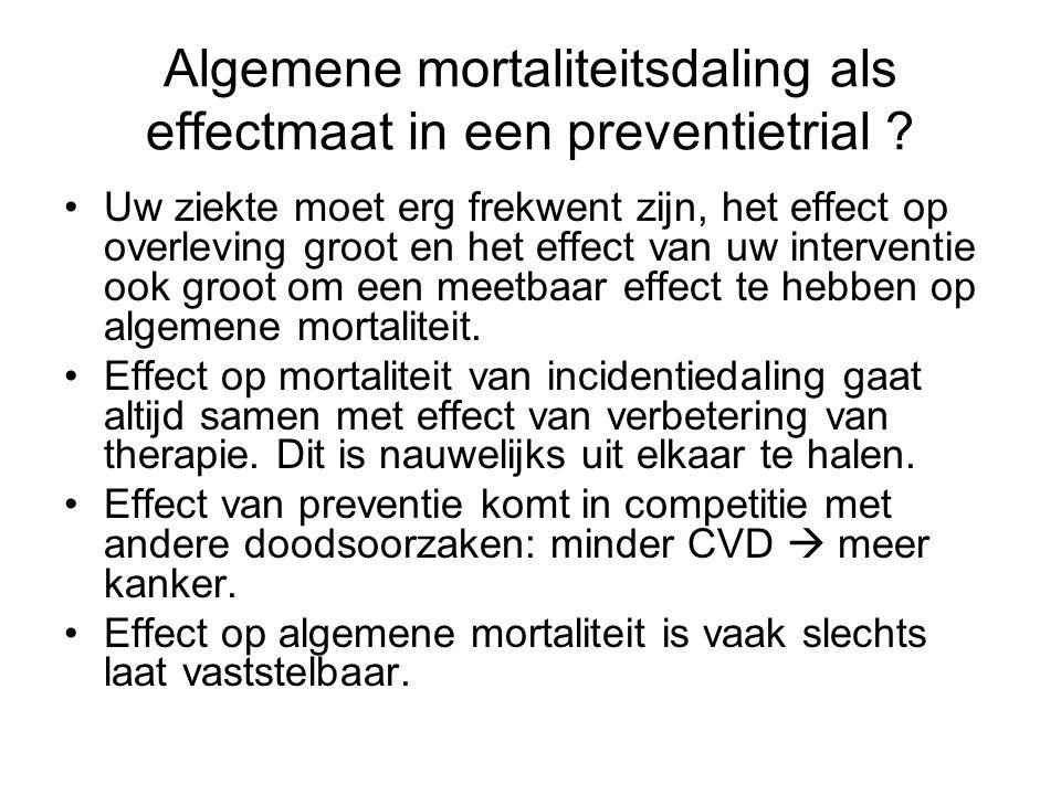 Algemene mortaliteitsdaling als effectmaat in een preventietrial