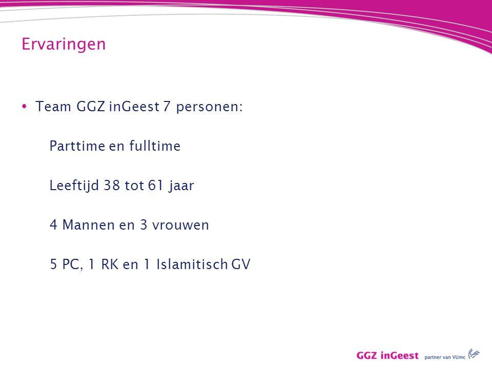 Ervaringen Team GGZ inGeest 7 personen: Parttime en fulltime
