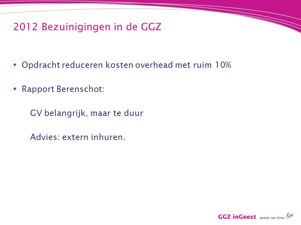 2012 Bezuinigingen in de GGZ