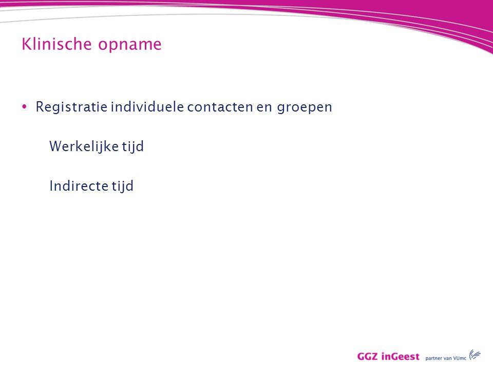 Klinische opname Registratie individuele contacten en groepen