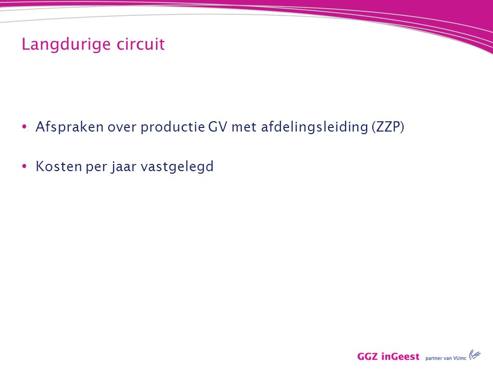 Langdurige circuit Afspraken over productie GV met afdelingsleiding (ZZP) Kosten per jaar vastgelegd.