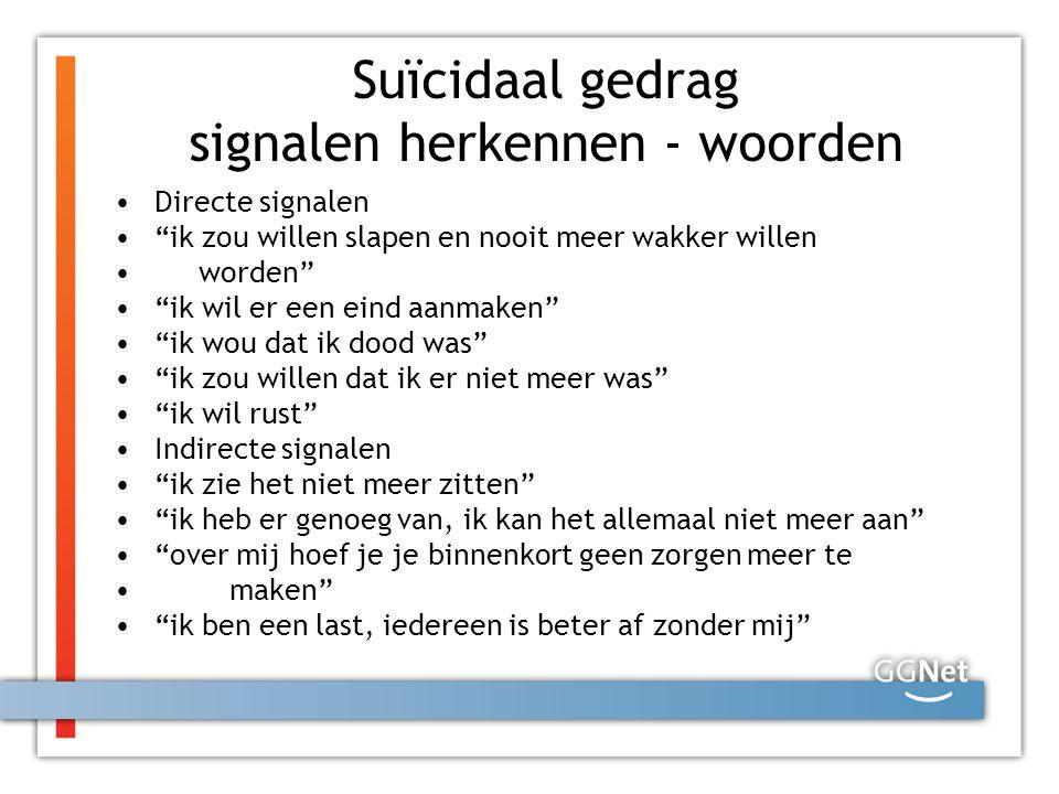 Suïcidaal gedrag signalen herkennen - woorden