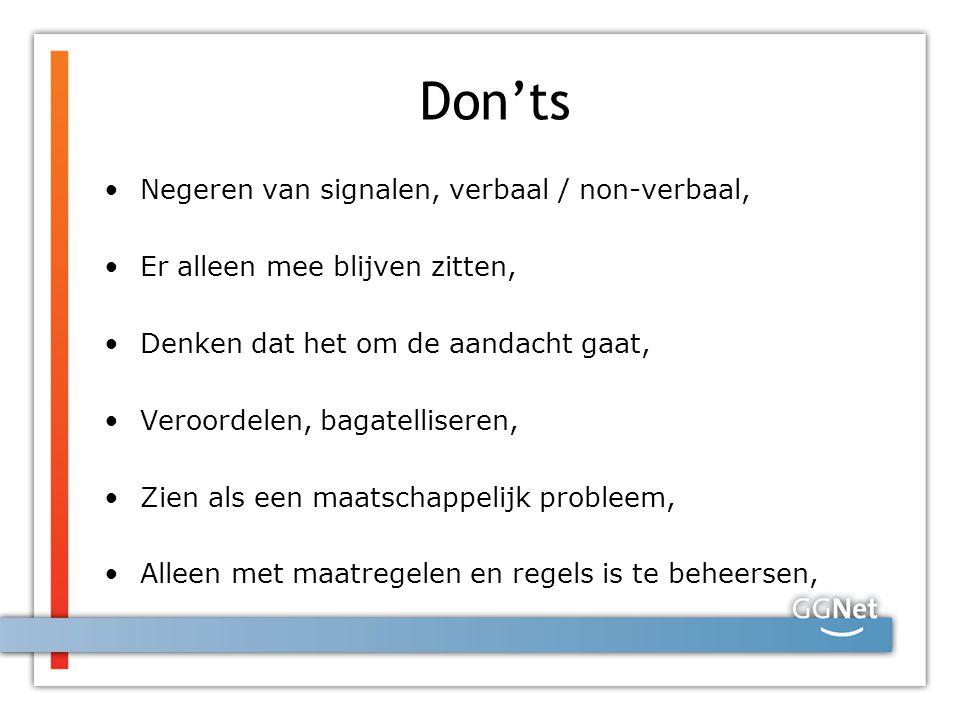 Don'ts Negeren van signalen, verbaal / non-verbaal,