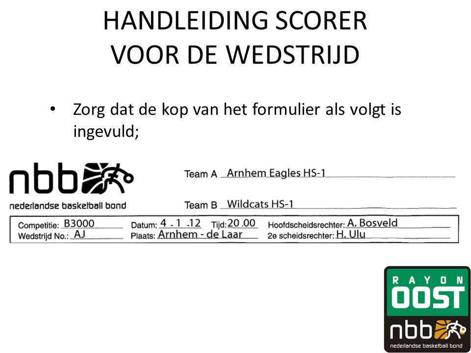 HANDLEIDING SCORER VOOR DE WEDSTRIJD