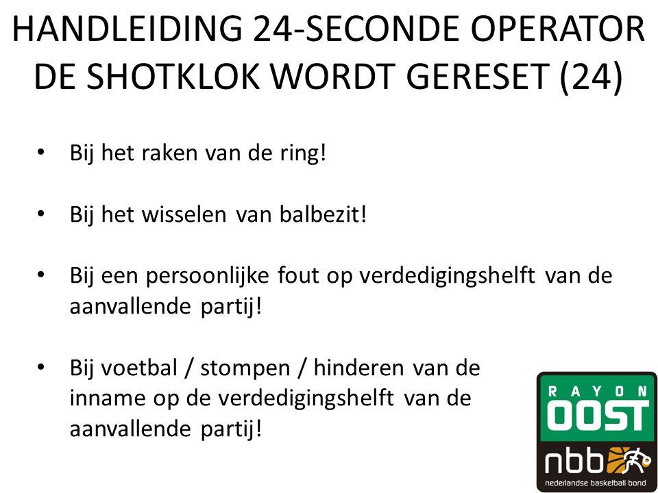 HANDLEIDING 24-SECONDE OPERATOR DE SHOTKLOK WORDT GERESET (24)