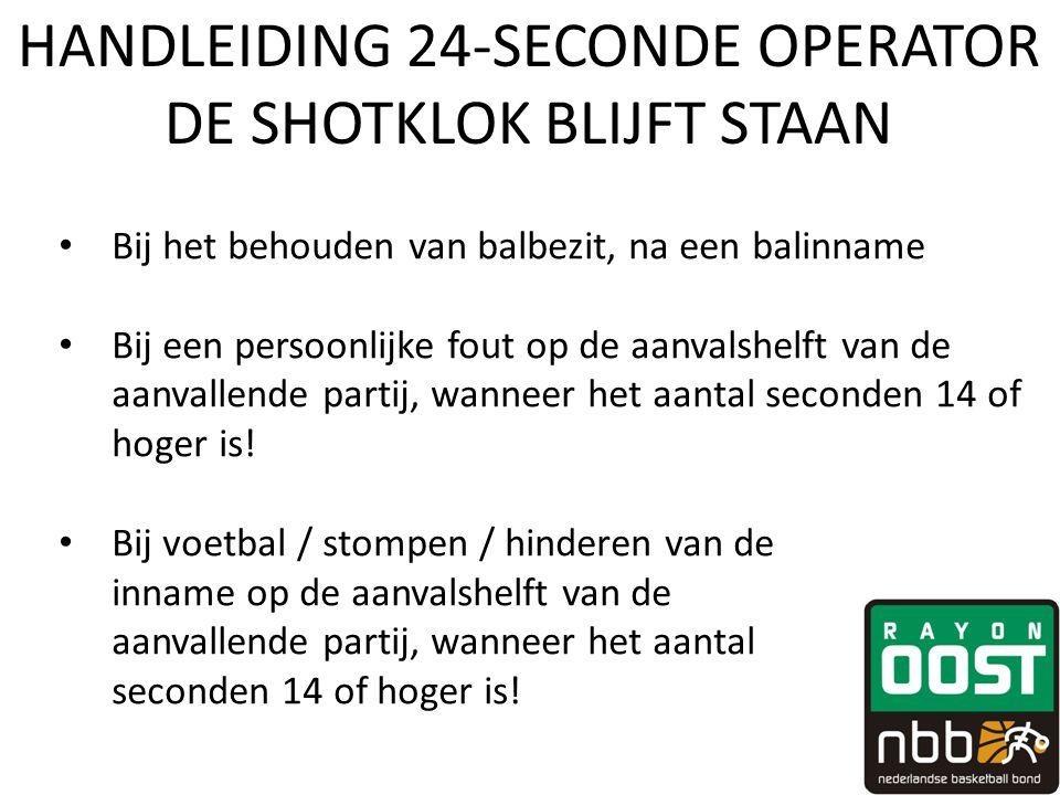 HANDLEIDING 24-SECONDE OPERATOR DE SHOTKLOK BLIJFT STAAN