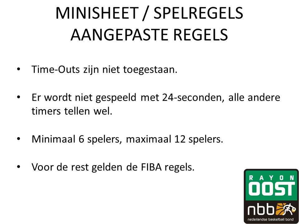 MINISHEET / SPELREGELS AANGEPASTE REGELS