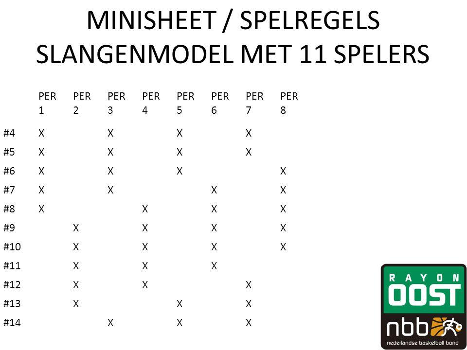 MINISHEET / SPELREGELS SLANGENMODEL MET 11 SPELERS