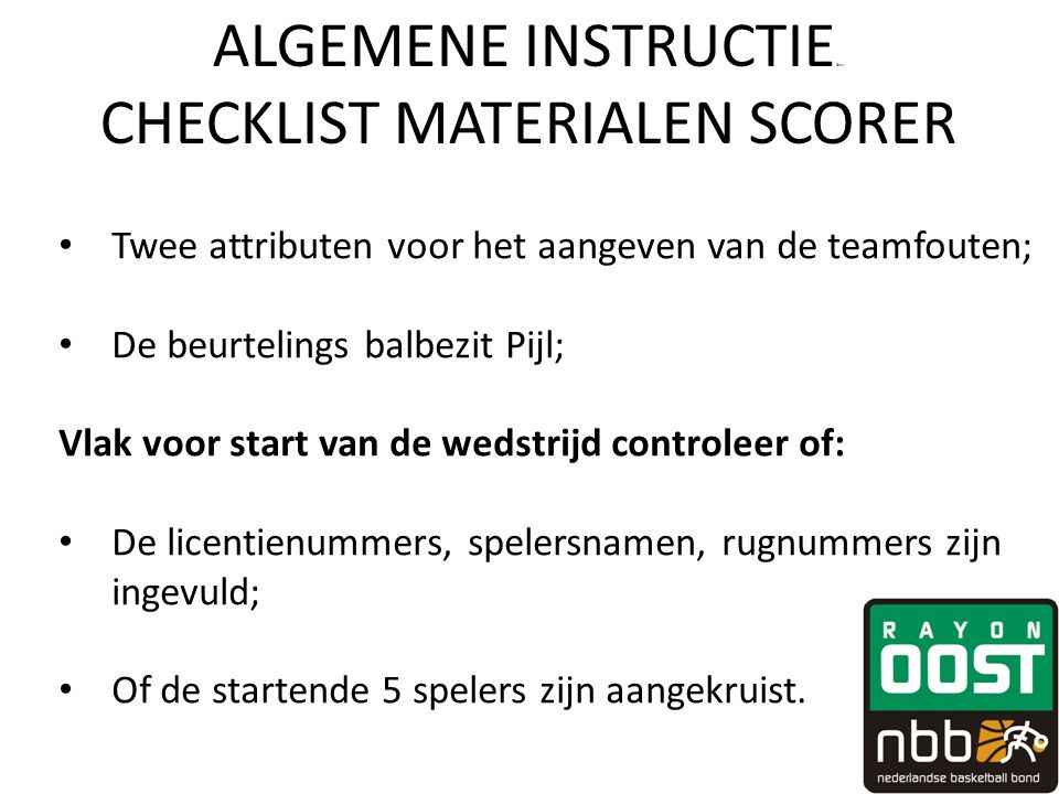 ALGEMENE INSTRUCTIEfewv CHECKLIST MATERIALEN SCORER