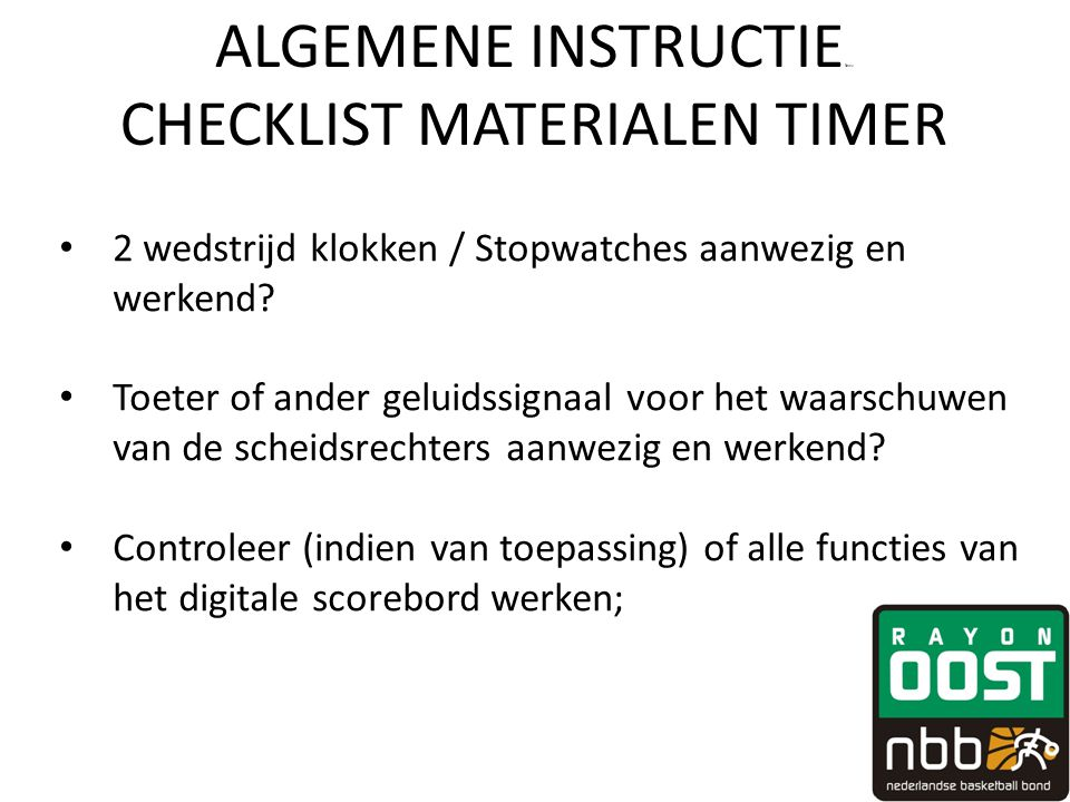 ALGEMENE INSTRUCTIEfewv CHECKLIST MATERIALEN TIMER