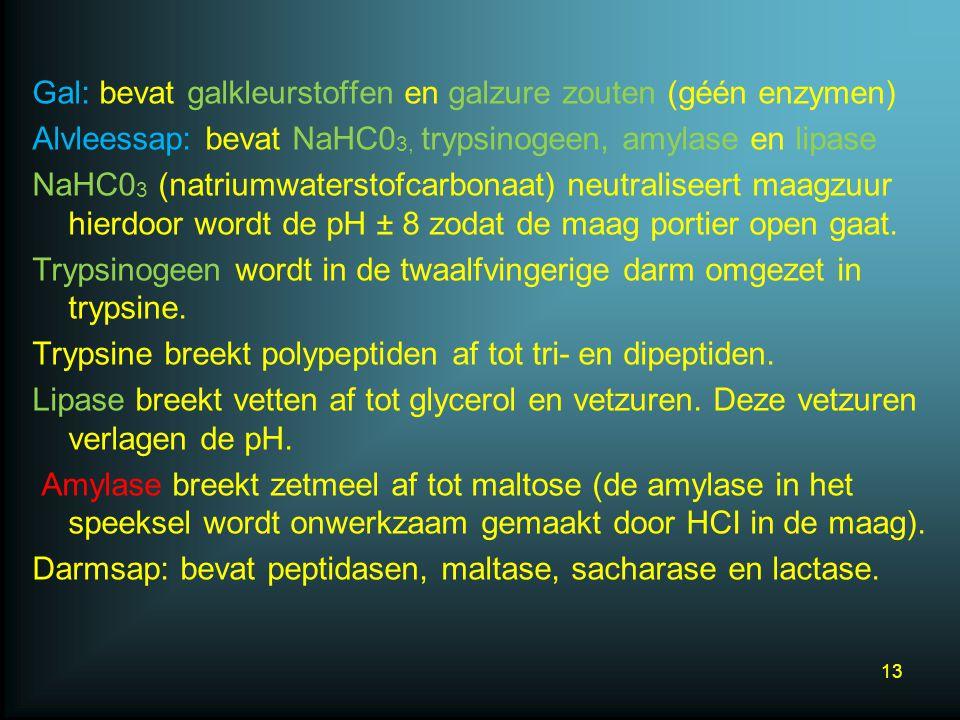 Gal: bevat galkleurstoffen en galzure zouten (géén enzymen) Alvleessap: bevat NaHC03, trypsinogeen, amylase en lipase NaHC03 (natriumwaterstofcarbonaat) neutraliseert maagzuur hierdoor wordt de pH ± 8 zodat de maag portier open gaat.