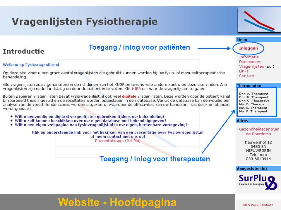 Website - Hoofdpagina Toegang / inlog voor patiënten
