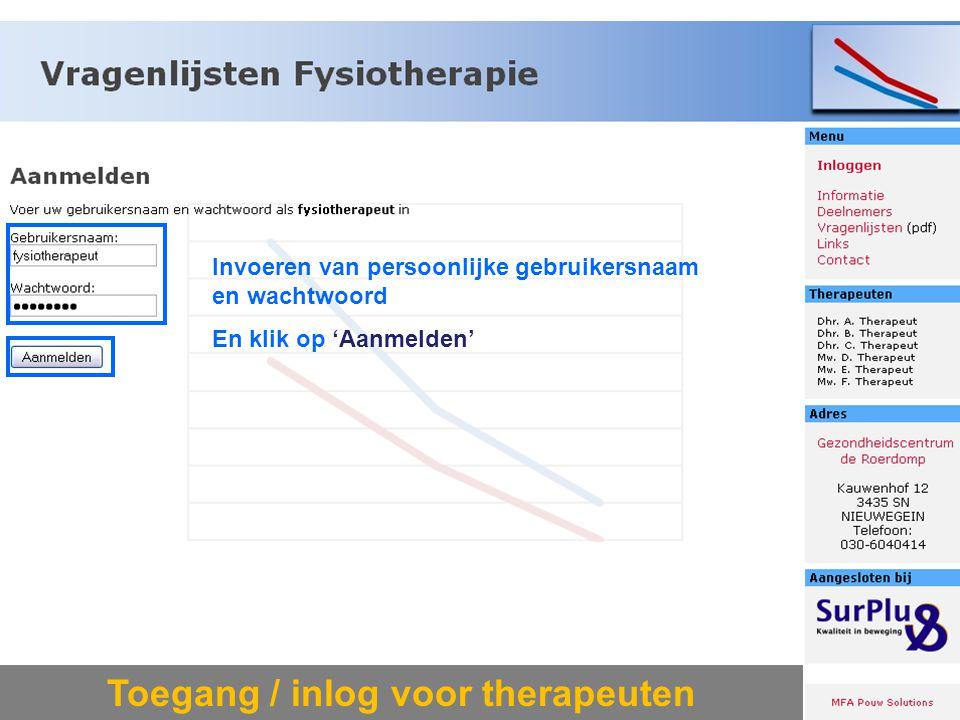 Toegang / inlog voor therapeuten