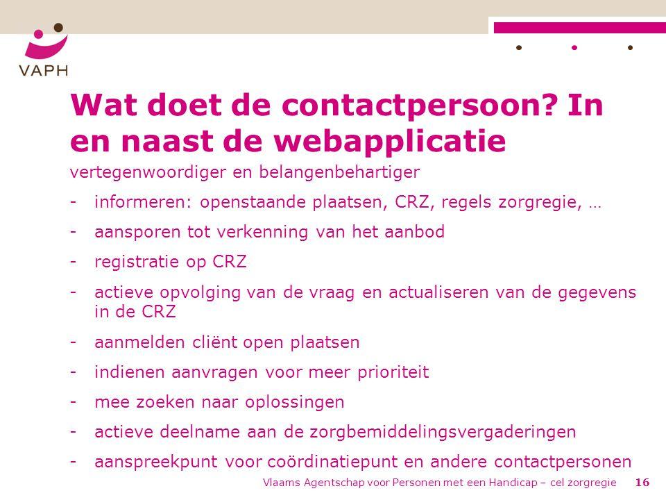 Wat doet de contactpersoon In en naast de webapplicatie