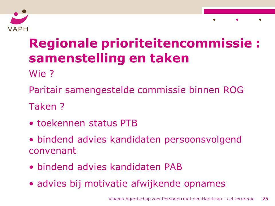 Regionale prioriteitencommissie : samenstelling en taken