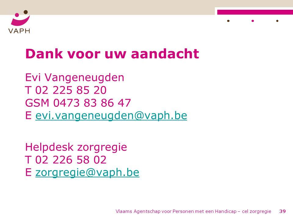 Dank voor uw aandacht Evi Vangeneugden T 02 225 85 20