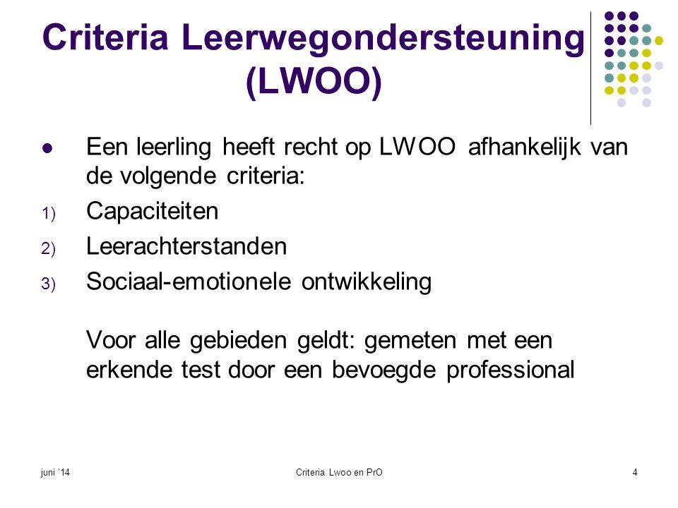 Criteria Leerwegondersteuning (LWOO)