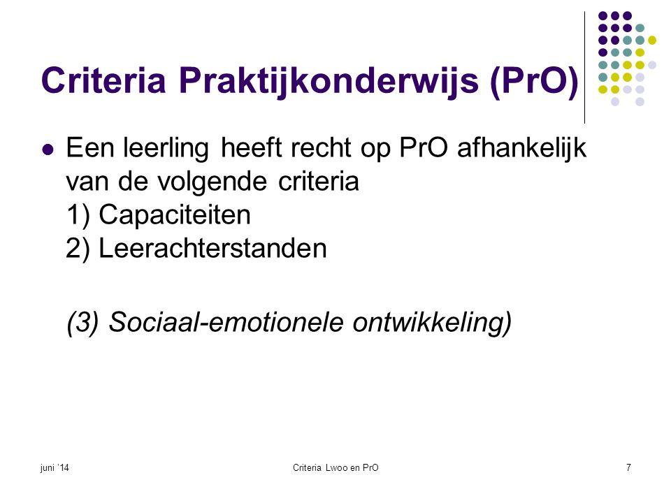 Criteria Praktijkonderwijs (PrO)