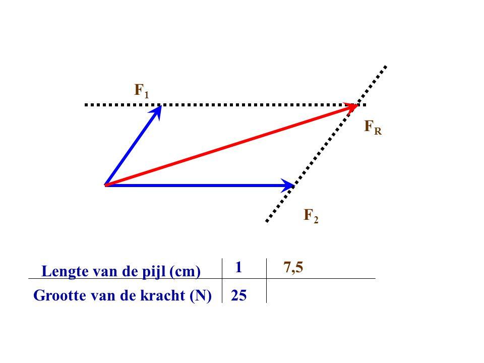 F1 FR F2 1 7,5 Lengte van de pijl (cm) Grootte van de kracht (N) 25