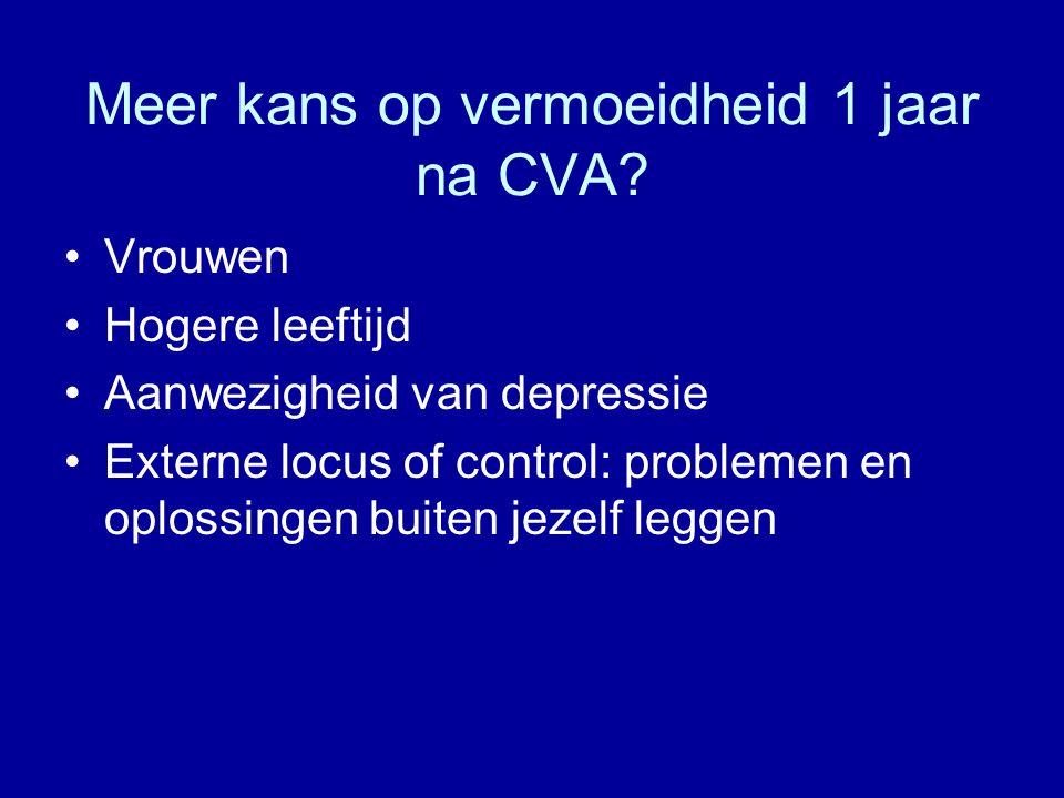 Meer kans op vermoeidheid 1 jaar na CVA