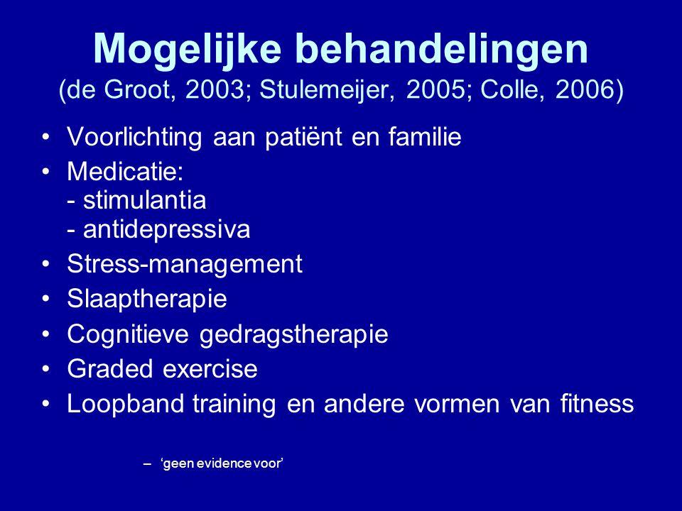 Mogelijke behandelingen (de Groot, 2003; Stulemeijer, 2005; Colle, 2006)